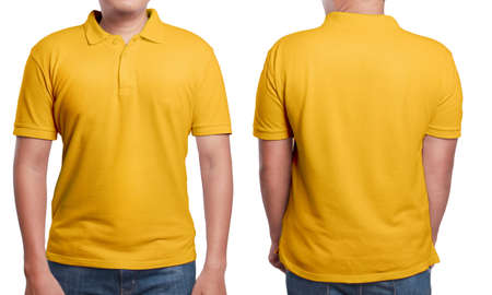 Photo pour Orange polo t-shirt mock up, front and back view, isolated. Male model wear plain orange shirt mockup. Polo shirt design template. Blank tees for print - image libre de droit