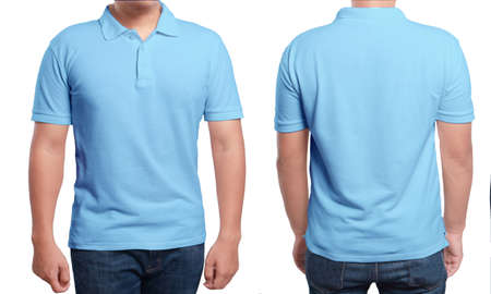 Foto de Blue polo t-shirt mock up, front and back view, isolated. Male model wear plain blue shirt mockup. Polo shirt design template. Blank tees for print - Imagen libre de derechos