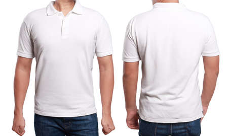 Photo pour White polo t-shirt mock up, front and back view, isolated. Male model wear plain white shirt mockup. Polo shirt design template. Blank tees for print - image libre de droit