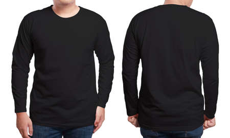 Photo for Black long sleeved t-shirt mock up, front and back view, isolated. Male model wear plain black shirt mockup. Long sleeve shirt design template. Blank tees for print - Royalty Free Image