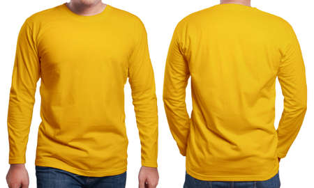 Photo pour Orange long sleeved t-shirt mock up, front and back view, isolated. Male model wear plain orange shirt mockup. Long sleeve shirt design template. Blank tees for print - image libre de droit