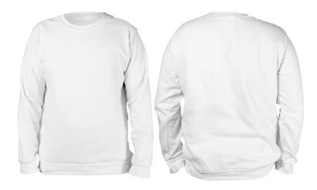 Foto de Blank sweatshirt mock up template, front, and back view, isolated, plain white long sleeved sweater mockup. T-shirt design presentation. Jumper for print. Blank clothes sweat shirt sweater - Imagen libre de derechos