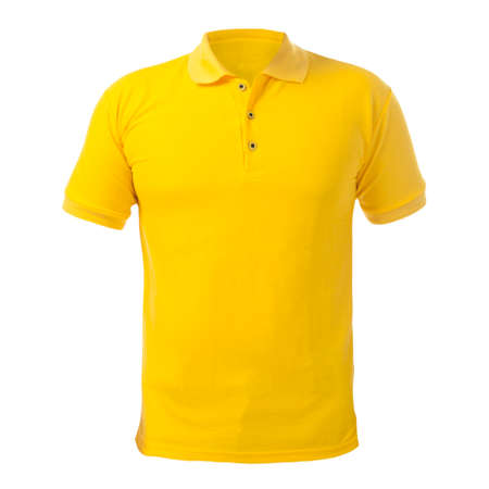 Foto de Blank collared shirt mock up template, front  view, isolated on white, plain yellow t-shirt mockup. Polo tee design presentation for print. - Imagen libre de derechos