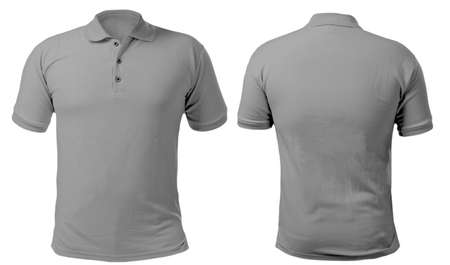 Photo pour Blank collared shirt mock up template, front and back view, isolated on white, plain gray t-shirt mockup. Polo tee design presentation for print. - image libre de droit