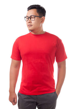 Foto de Red t-shirt mock up, front view, isolated. Male model wear plain red shirt mockup. Tshirt design template. Blank tee for print - Imagen libre de derechos