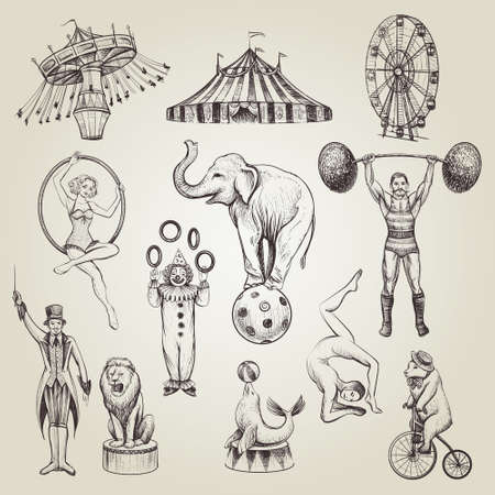 Photo for Circus vintage hand drawn. - Royalty Free Image