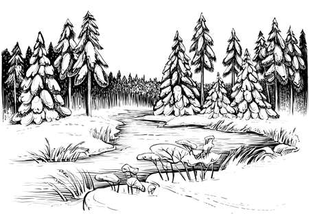 Illustration pour Winter river under ice and forest, landscape sketch. - image libre de droit