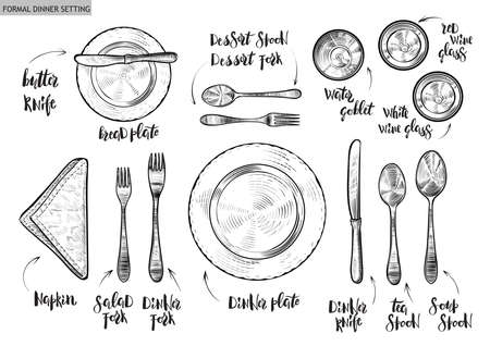 Illustration for Table setting, top view. Vector hand drawn illustrations with original custom font captions. - Royalty Free Image