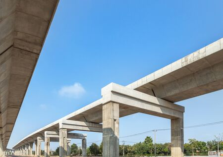 Photo for Architecture curve intercity motorway Nakhon Ratchasima Bangpa In to Korat MotorWay in Thailand  during construction under blue sky - Royalty Free Image