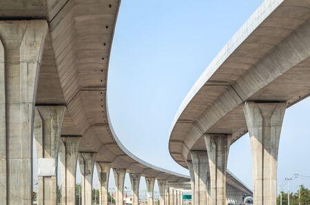Photo for Architecture curve intercity motorway Nakhon Ratchasima Bangpa In to Korat MotorWay in Thailand  during construction - Royalty Free Image
