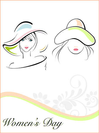 Vector illustration of beautiful young girls wearing  hat and text on white floral and wave background for Women