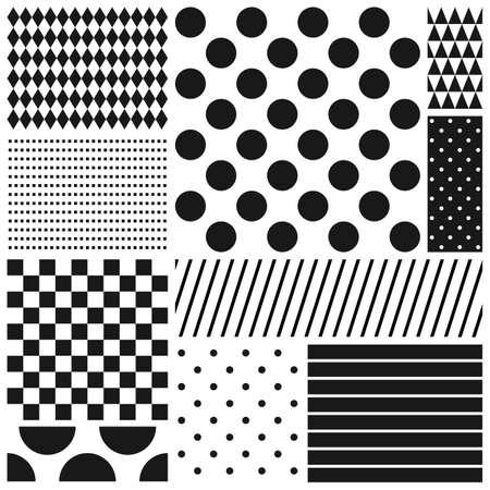 Illustration pour Black and white geometric seamless patterns set - image libre de droit