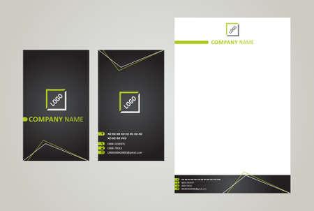 Illustration pour Business Card & Letter Head Black & Green - image libre de droit