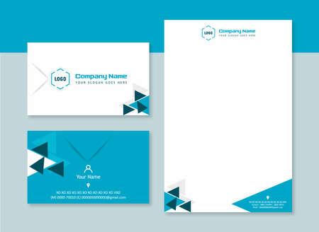 Illustration pour Business Card & Letterhead polygon Corporate Design - image libre de droit