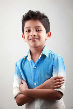Photo for Portrait of an Indian boy with hands tied together - Royalty Free Image