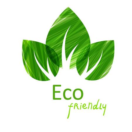 Ilustración de Green leaves abstract background. Vector illustration. Eco friendly  - Imagen libre de derechos