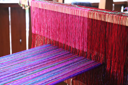 Photo pour Weaving work - weaving machine in Guatemala - image libre de droit