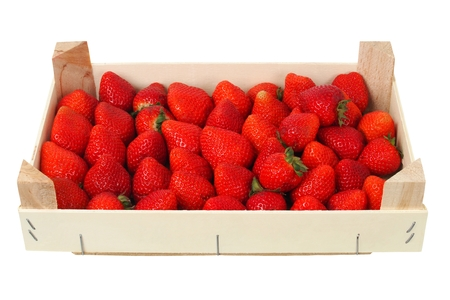 Photo for Strawberries in wooden box, isolated on white background - Royalty Free Image