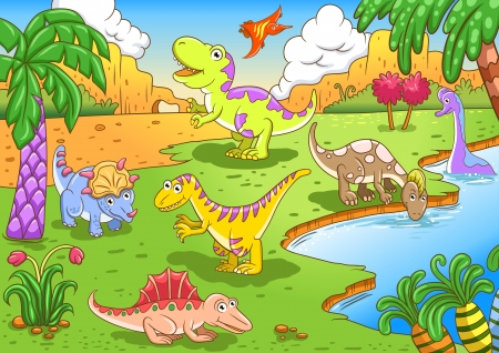 Cute dinosaurs in prehistoric scene File - simple Gradients, no Effects, no mesh, no Transparencies  All in separate  group and layer for easy editing