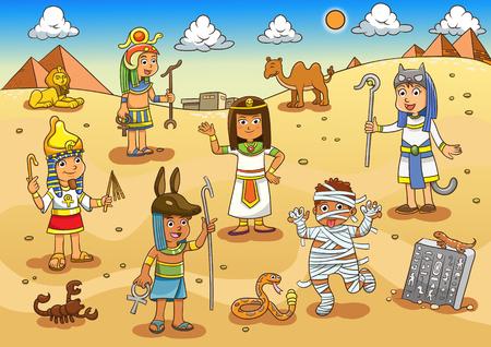 Illustration for Illustration of egypt child cartoon. EPS10 File simple Gradients - Royalty Free Image
