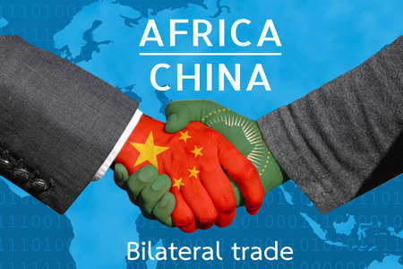 Photo pour Concept image of  Handshakes between China-Africa, economic relations, Bilateral trade, China invest in  Africa - image libre de droit