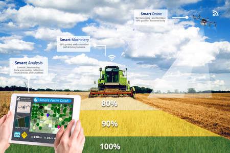 Foto de Smart farming, Hi-Tech Agriculture revolution, Drone AI automatic, Conceptual - Imagen libre de derechos