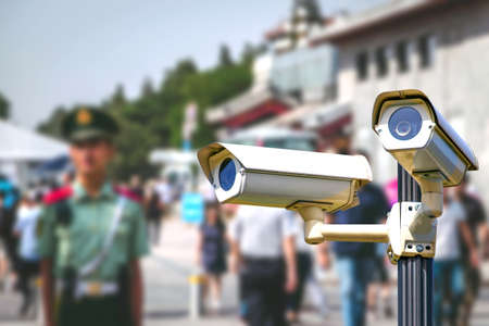 Photo for Smart surveillance CCTV cameras, spies people, track identify, no privacy concept, in China. - Royalty Free Image