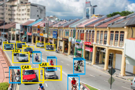 Foto de A.I. Artificial Intelligence to Identify Objects technology,Machine Learning concept. Image processing, Recognition technology. - Imagen libre de derechos
