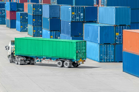 Photo for Truck in container depot - Royalty Free Image