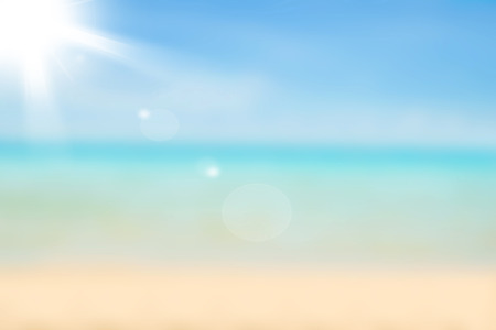 Foto de Blurred nature background. Sandy beach backdrop with turquoise water and bright sun light. Summer, Holidays, Vacation, Travel concept. - Imagen libre de derechos
