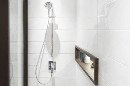 Photo pour Modern shower head in bathroom - image libre de droit