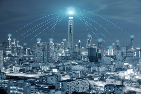Foto de Technology, Network and Conection concept - Wifi network connection in center business district use for wifi network connection background. - Imagen libre de derechos
