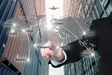 Photo for Businessman working with virtual interface connection map of global network partner connection use for logistic,import,export background. - Royalty Free Image