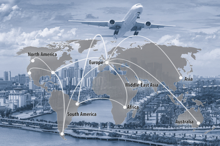Photo for Virtual interface connection map of global partner connection use for logistic,import,export background.(Elements of this image furnished by NASA) - Royalty Free Image