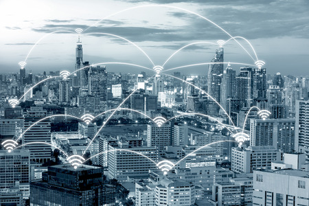 Foto de Wifi icon and Bangkok city with network connection concept, Bangkok smart city and wireless communication network, abstract image visual, internet of things. - Imagen libre de derechos