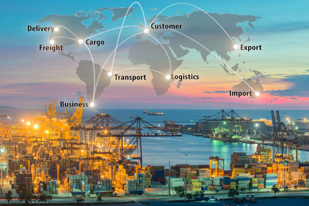 Foto de Map global logistics partnership connection of Container Cargo freight ship for Logistics Import Export background, Global logistics network transportation maritime shipping - Imagen libre de derechos