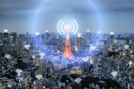 Photo pour Wifi icon and Tokyo city with network connection concept, Tokyo smart city and wireless communication network, abstract image visual, internet of things. - image libre de droit