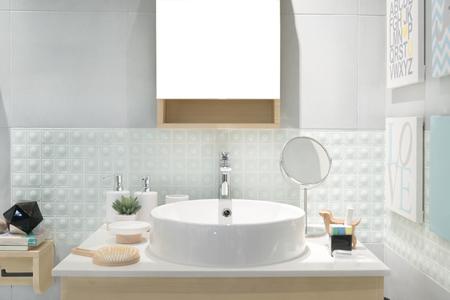 Foto de Interior of bathroom with sink basin faucet and mirror. Modern design of bathroom. - Imagen libre de derechos