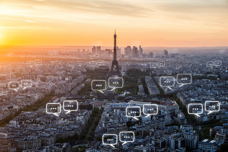 Foto de Blank space for text on Paris city and bubble chat for communication. Technology and communication concept - Imagen libre de derechos