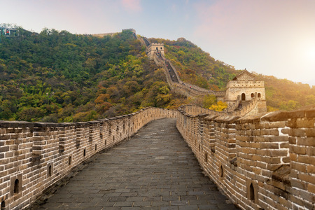 Photo pour China The great wall distant view compressed towers and wall segments autumn season in mountains near Beijing ancient chinese fortification military landmark in Beijing, China.  - image libre de droit