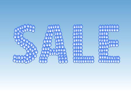 Vector sale label. Water drops.