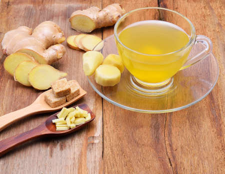 Photo for Ginger tea  on wooden table - Royalty Free Image