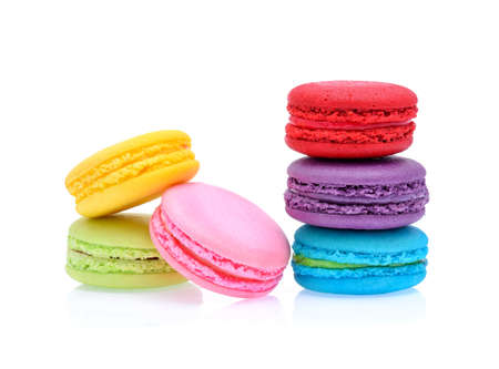 Photo for Sweet and colourful french macaroons or macaron on white background, Dessert. - Royalty Free Image