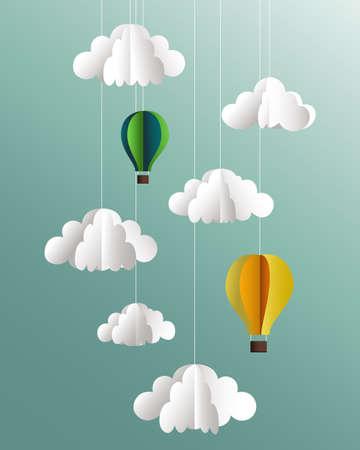 Ilustración de Vector paper clouds and balloons - Imagen libre de derechos