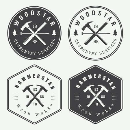 Illustration pour Set of vintage carpentry and mechanic labels, emblems - image libre de droit