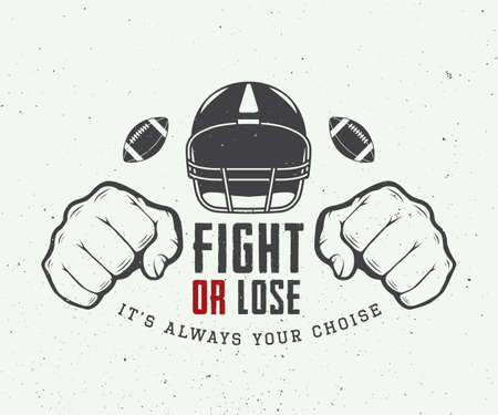 Illustrazione per American football or rugby motivation with helm, fists and ball in vintage style illustration - Immagini Royalty Free