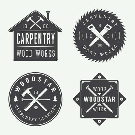 Photo pour Set of vintage carpentry and mechanic labels, emblems - image libre de droit