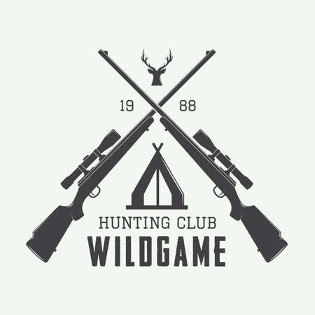 Ilustración de Vintage hunting label, logo or badge and design elements. Vector illustration - Imagen libre de derechos