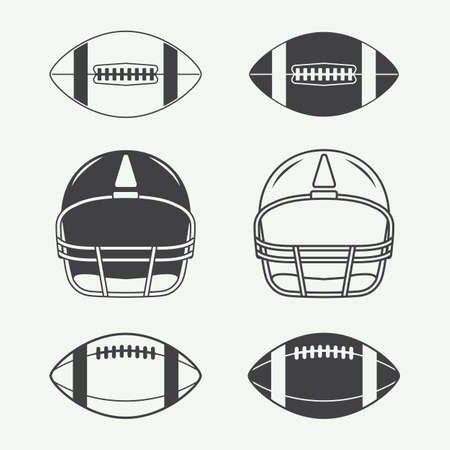 Illustration for Set of vintage rugby and american football labels, emblems, logo and design elements - Royalty Free Image