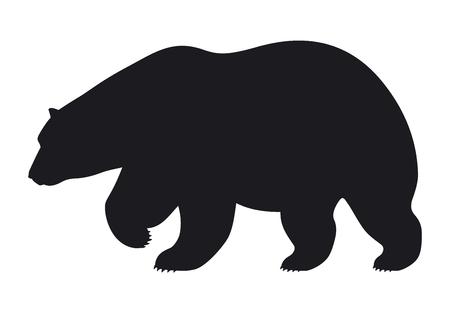 Ilustración de Silhouette bear on white background, vector illustration - Imagen libre de derechos